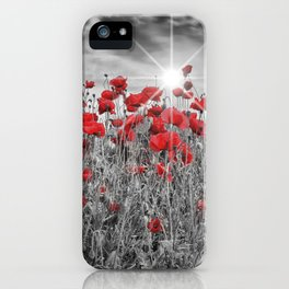 Idyllic Field of Poppies with Sun iPhone Case