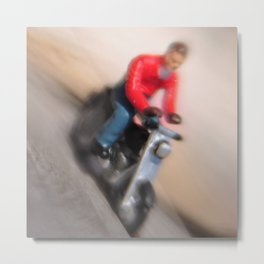 Teeny tiny motorcycle guy Metal Print