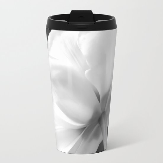 Close-up of white tulip in black background Metal Travel Mug