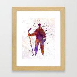 Hockey man player 01 in watercolor Framed Art Print