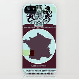 France vintage worn style map poster iPhone Case