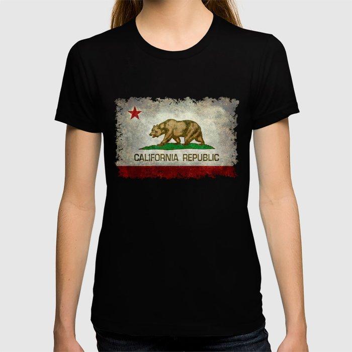 Californian flag the Bear flag in retro grunge T-shirt