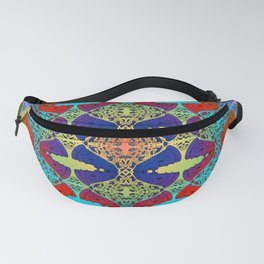 Pizza Party double rainbow gradient doodle Fanny Pack