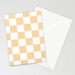 Large Checkered - White and Sunset Orange Stationery Cards