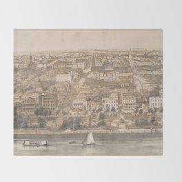 Vintage Pictorial Map of Charleston SC (1851) Throw Blanket