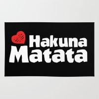 hakuna Area & Throw Rugs featuring Hakuna Matata by The Wellington Boot