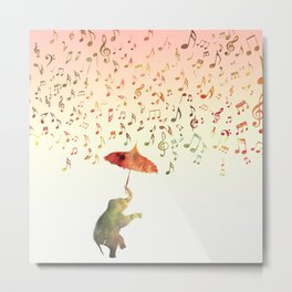 Dancing with Musical Rain Metal Print