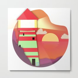Sunset landscape with a lighthouse illuminating the ocean Metal Print
