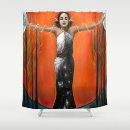 Strength // Woman Goddess Feminine Empower Earth Moon Sun Stars Energy Healing Feminist Feminism Shower Curtain