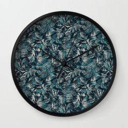 Palm Leaves in teal and beige Wall Clock