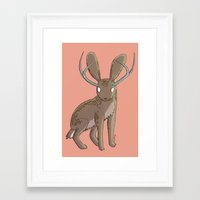 jackalope Framed Art Prints featuring Jackalope by Floipoid