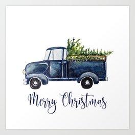 Blue Christmas Truck Art Print