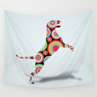 dog Wall Tapestries featuring dog by mark ashkenazi