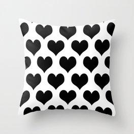 White Black Heart Minimalist Throw Pillow