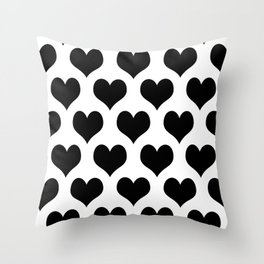 White And Black Heart Minimalist Throw Pillow
