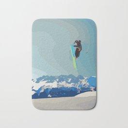 Man on skis, sky jumping, with mountains and blue sky on the backgound Bath Mat