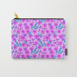 girly flowers, delicate green leaves, branches floral fabric baby pink bright feminine pattern Carry-All Pouch