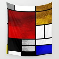 mondrian Wall Tapestries featuring Luxury Mondrian by Dizzy Moments