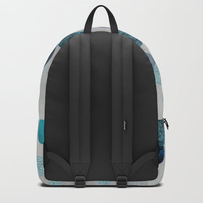 Shiny Glamour Dots Blue Aqua Teal Pattern Glitter  #blueglamour Backpack