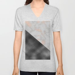 Rose gold marble and gunmetal grey storm Unisex V-Neck