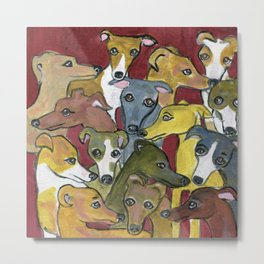 Greyhound Gathering on Maroon Metal Print