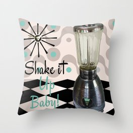 Fifties Kitchen Blender Throw Pillow