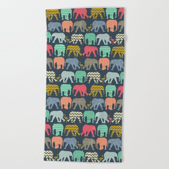 baby elephants and flamingos Beach Towel