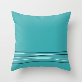 Alabaster, Pastel Gray and Navy Blue Solid Color Scribble Lines Stripes Bottom Minimal Design on Aqua Teal Turquoise  - Aquarium SW 6767 Throw Pillow