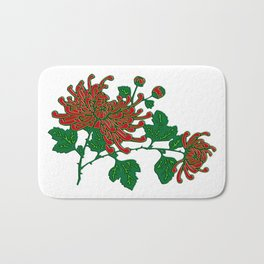 Chinese Spider Chrysanthemums in Deep Red Bath Mat