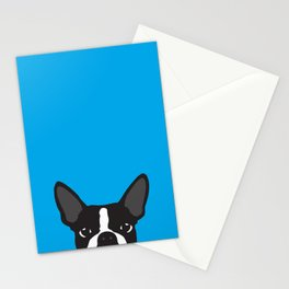Boston Terrier Blue Stationery Cards