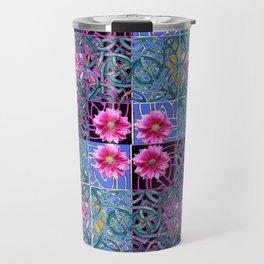 COLORFUL FUCHSIA GREEN-BLACK 4 PANEL CELTIC ART Travel Mug