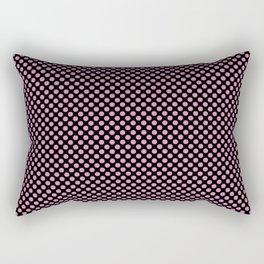 Black and Fuchsia Pink Polka Dots Rectangular Pillow