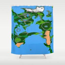Final Fantasy II Japanese Overworld Shower Curtain