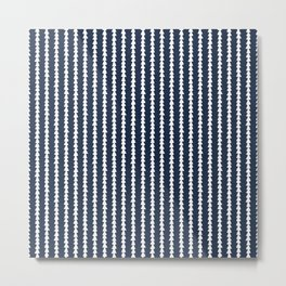 Tiny Triangles Stripes in Navy Blue Metal Print