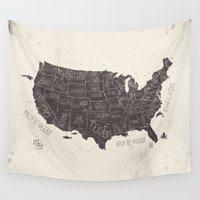 usa Wall Tapestries featuring USA by Mike Koubou