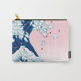Christmas Llama Great Wave in Pink Carry-All Pouch