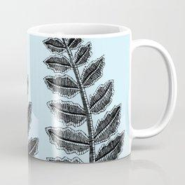 Black Lace Fern Powder Blue Coffee Mug