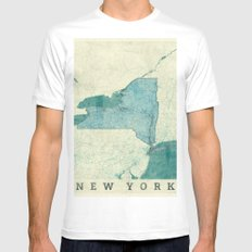 New York State Map Blue Vintage MEDIUM White Mens Fitted Tee