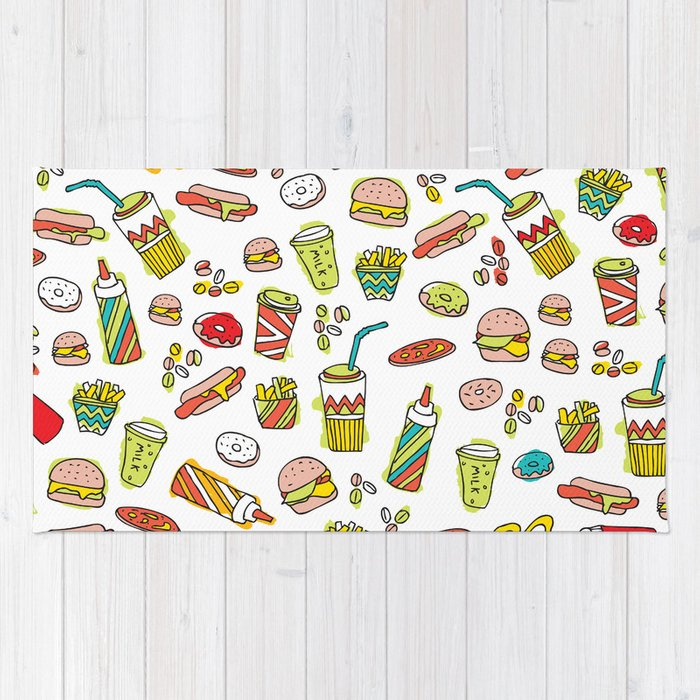 Awesome retro junk food icons Rug