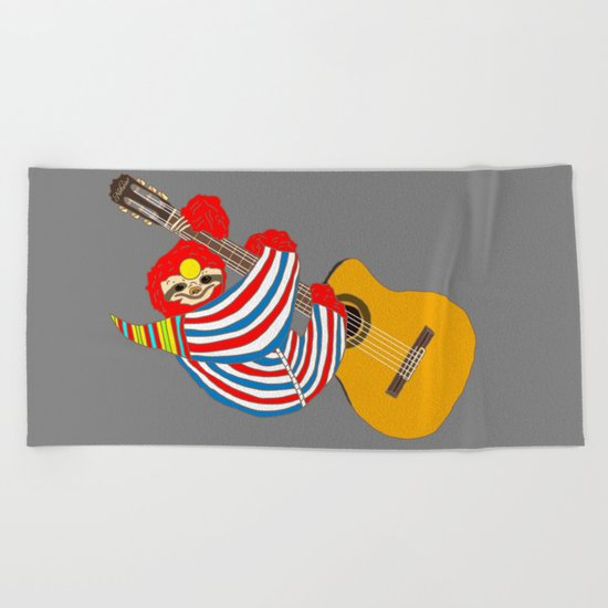 Bowie Sloth Vintage Guitar Beach Towel