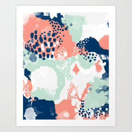 Bristol - acrylic painting abstract navy mint coral modern color palette Art Print