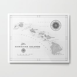 The Hawaiian Islands [Black & White] Map Print Metal Print
