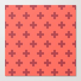 Swiss Cross Retro Red Canvas Print