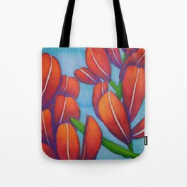Botanical Painting with Reds and Blues Tote Bag