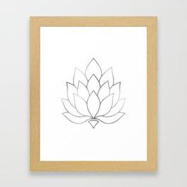 Silver Foil Lotus Flower Framed Art Print