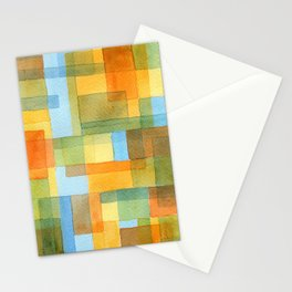 City by a river -watercolour after Paul Klee Stationery Cards