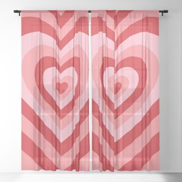 70s psychedelic pink heart Sheer Curtain