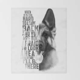 German Shepherd Quote Text Throw Blanket