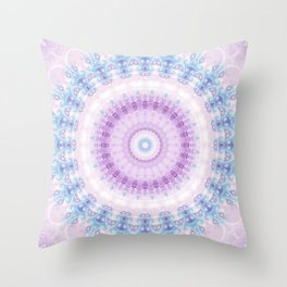 Pastel Purple and Blue Mandala Throw Pillow