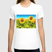 sunflowers T-shirts featuring sunflowers by KrisLeov